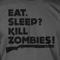 Funny Zombies Zombie Movie Survival Walking Un dead Eat Sleep Kill Zombies Black Ink Screen Printed T-Shirt Mens Ladies Womens Youth Geek