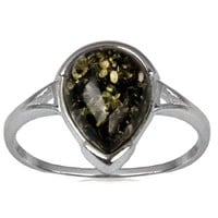 Sterling Silver Green Amber Oblong Stone Ring