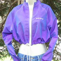 80s 90s Cropped Jacket Beachwear Purple Outerwear Windbreaker Surf Style
