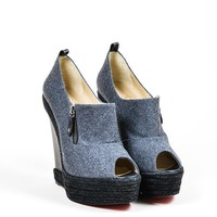 DCCK2 Grey and Black Christian Louboutin Woolen Espadrille Wedge Heel Booties