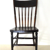 Antique wooden chair, pressed back spindled chair in a dark patina cottage chic wood chair