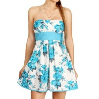 Ivory/Turquoise Floral Dress