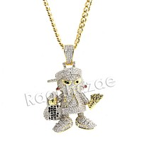 Hiphop Mini Goon Brass Pendant W/ 5mm 18-30 inches Cuban Chain