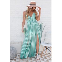 Oh So Fresh Striped Jumpsuit (Mint)