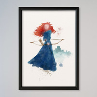 Merida Princess Watercolor print Disney Castle Merida Watercolor Illustration poster Kids art Wall art Nursery Giclee Print Fine Art