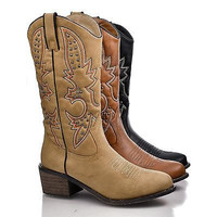 Rancher Western Pointed Toe Embroidered Studded Cowboy Mid Calf Riding Boot