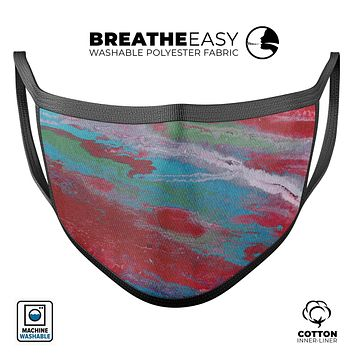 Abstract Wet Paint Red and Blue - Made in USA Mouth Cover Unisex Anti-Dust Cotton Blend Reusable & Washable Face Mask with Adjustable Sizing for Adult or Child