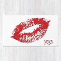 Red Lips Area Floor Rug Kisses XOXO Choose Text Love Valentines Throw Woven Rectangle Modern Home Decor