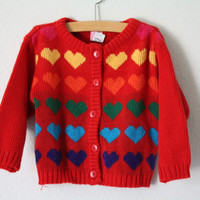 Vintage Red Rainbow Heart Sweater Baby by 1SweetDreamVintage