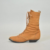 vintage 1980's toffee brown leather LACE-UP granny victorian ankle BOOTS, 6.5 37 4