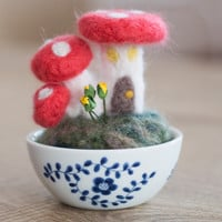 Needle Felted Mushroom Decor- Woodland Decor- Needle Felted Mushrooms- Needle Felted Pincushion- Mushroom Fairy House-Personalized Gift
