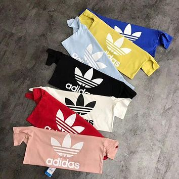 Adidas Originals Trefoil Women Men Summer Round Collar T-Shirt Pullover Top High Quality I
