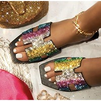 Summer new style flat shoes women sandals color rhinestone slippers