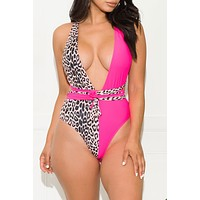 Distant Oceanfront One Piece Swimsuit Pink & Animal print