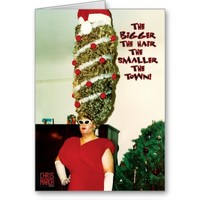 Big Xmas Hair Humor Holiday Card