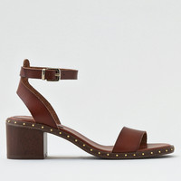 AEO Studded Block Heel Sandal, Brown