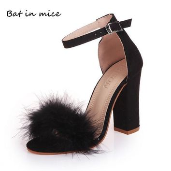 Sexy women Casual Gladiator Ankle Strap Fur Pumps high heels Wedding Dress Shoes Woman Valentine Peep Toe Party shoes women W013