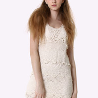 Multi-Layer Floral Crochet Dress Beige S/M
