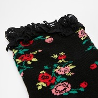 ASOS Floral Ankle Socks With Lace Trim