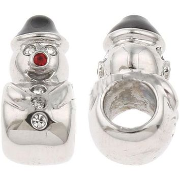 Buckets of Beads Stainless Steel Christmas Snowman Charm Bead