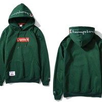 Supreme & Champion 3 Colors Hoodies Embroidery Sweatershirt [105073213452]