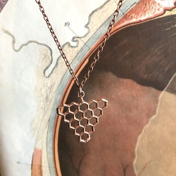 Copper Plated Honeycomb Pendant