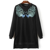 Autumn Scales Embroidery Casual Pullover Tops Hoodies [8511505735]
