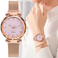 Rose Gold Women Watch Top Brand Luxury Magnetic Starry Sky Lady Wrist Watch Mesh Female Clock For