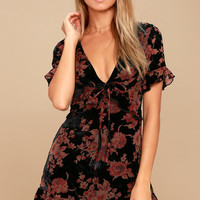 A Touch of Magic Black Floral Print Velvet Mini Dress