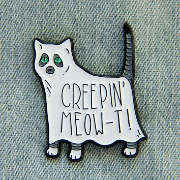 """Creeping Meow-t"" Ghost Cat Enamel Pin"