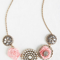 Statement, Pastel, French Rosette Quintet Necklace in Rose by ModCloth