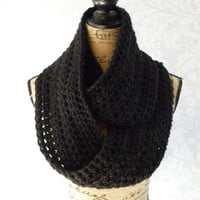 Ready To Ship Infinity Scarf Large Black Thick Women's Accessory Infinity Scarf