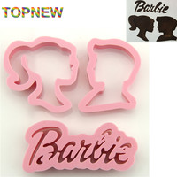 10 pcs Barbie princess prince plastic pie crust cutters suit cartoon Lovers