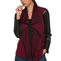 Long-Sleeve Synthetic Leather Lapel Jacket