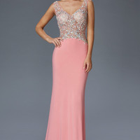 G2128 Jeweled Sheer Illusion Jersey Prom Pageant Dress