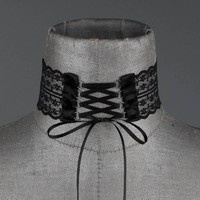 ROSEMARY. Black Lace Up Choker – REGALROSE
