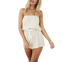 Beige Strapless Backless Self-tie Waist Wide Leg Casual Playsuit Beige