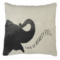 Life Is Beauty Full Elephant Throw Pillow