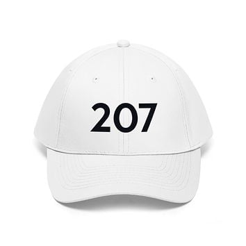 Maine 207 Area Code Embroidered Twill Hat BLACK