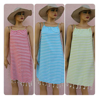 Beach Cover Up Peshtemal Dress Striped Beach  Dress Beach Tunic Towel Dress EXPRESS SHiPPiNG Via UPS