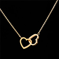 2016 Stainless Steel Chain Dainty Entwined Double Hearts Pendant Necklace Couples