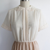 Vintage 60s Peter Pan Collar Cotton A-Line Dress | small 2 4
