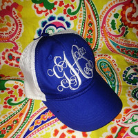 Royal blue and white mesh hat with large monogram,ladies monogrammed hat,monogram hat,monogrammed hat,bridesmaids gift,personalized gift