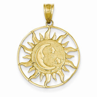 14k Yellow Gold Sun with Moon and Star Charm