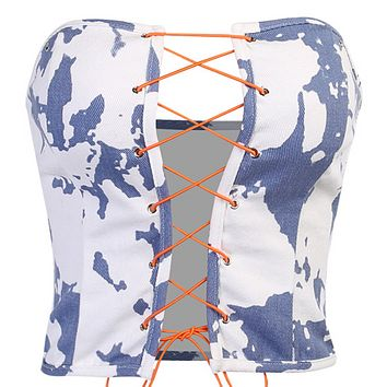 Hot tie-dye denim sexy drawstring tube top women
