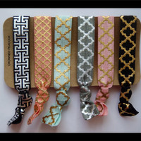 6 FOIL Hair TIES - Black and Gray w/ Gold and Silver Foil Print, Lattice Print, Great Gift, No Tug elasatic Yoga