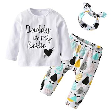 3Pcs Daddy is my Bestie Newborn Baby Girls Clothes Set Cotton Long Sleeve T-shirt +Pants+Headband Autumn Infant Clothing Outfits