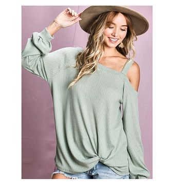 Hello Beautiful! One Cold Shoulder Twist Bottom Sage Top