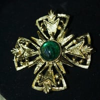 Gold Tone with Green Jewel Cross Brooch