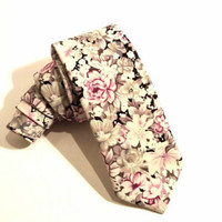 Pink Floral Necktie with Pink and White Floral Pattern, Man Necktie, Man Tie, Mens Tie, Wedding Tie